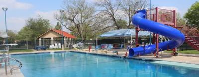 The Anderson Mill Pool, which is used by the swim team at Westwood High School, is one of six community and YMCA pools used by swim teams in Round Rock ISD.