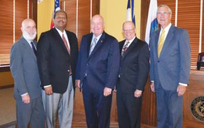 The Fort Bend County Commissioners Court is made up of, from left: Richard Morrison, Grady Prestage, Judge Robert Hebert, Andy Meyers and James Patterson.