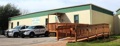 The city of Sunset Valley's police and public works departments operate out of portable buildings.