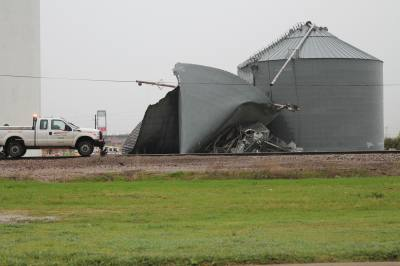One of the metal silos near Frisco's downtown collapsed in a storm March 8.