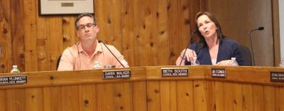 Council members Darin Walker and Beth South discuss the draft of the short-term rental citizen survey.