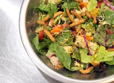 Salata employees make and mix salads for the customers.