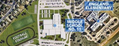 Round Rock ISD's 11th middle school is bounded by Avery Ranch Boulevard to the North, Pearson Place development to the West, RM 620 to the South and Brushy Creek MUD to the East in Williamson County.