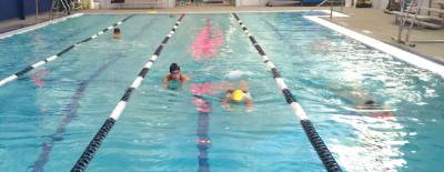 Masters swim classes meet at The Pod various times during the week to work out and train.