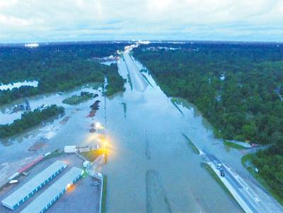 Hwy. 249 at Spring Creek was one of the major corridors that flooded on April 18.