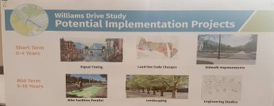 This poster board from the Williams Drive presentation includes suggestions for potential implementation projects for reducing congestion on the roadway.