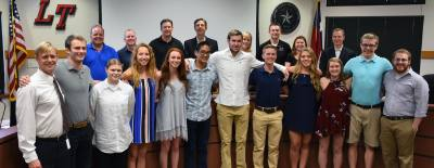 The Lake Travis ISD swimming and diving team was congratulated by the board of trustees March 21.