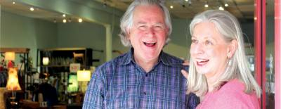 Co-owners Dennis and Deborah LaBonte choose the pieces they sell together.
