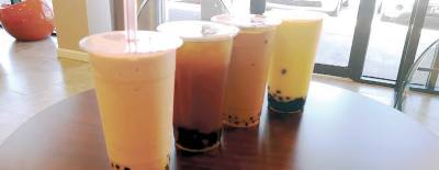 Drink prices at M Boba range from $3-$4.50. The strawberry banana smoothie costs $3.95.