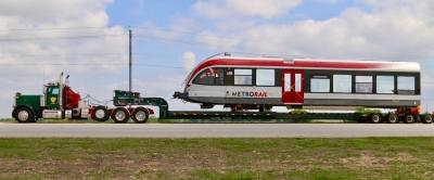 In March 2017, two trains, each consisting of two cars and an engine car, came across the Atlantic Ocean from Switzerland to Galveston, and traveled up to Austin by truck.