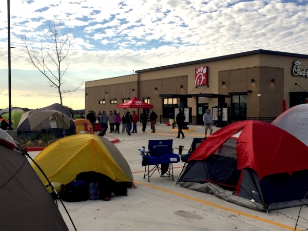 Customers line up Jan. 9, 2019, in anticipation of the Belterra Village Chick-fil-A grand opening. (Travis Baker/Community Impact Newspaper)