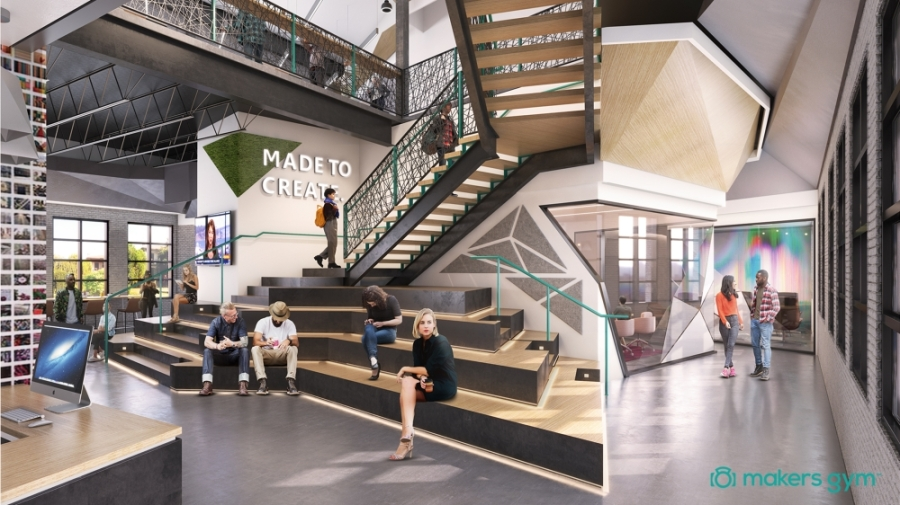 Makers Gym will offer five conference rooms, eight meeting rooms, over 24 hot desks, private phone booths, open seating and private nooks. (Rendering courtesy Makers Gym)
