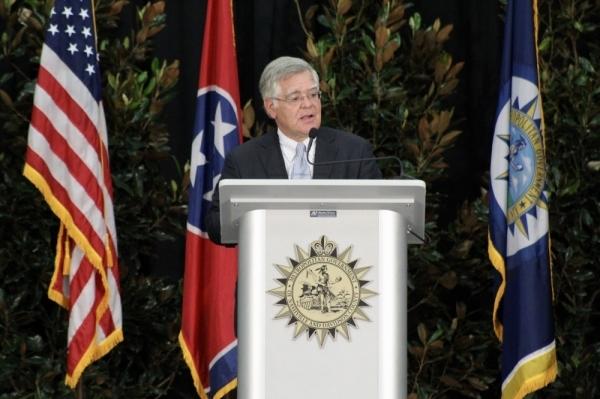 Mayor John Cooper speaks at his inauguration event Sept. 28 at Stratford STEM Magnet High School.