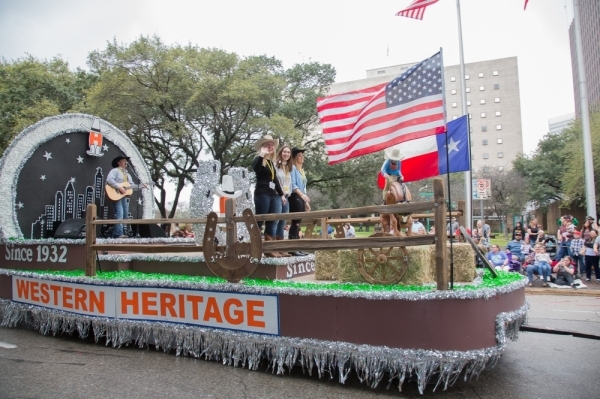 The downtown parade kicks off the Houston Livestock Show and Rodeo festivities in February each year. (Courtesy Houston Livestock Show and Rodeo)