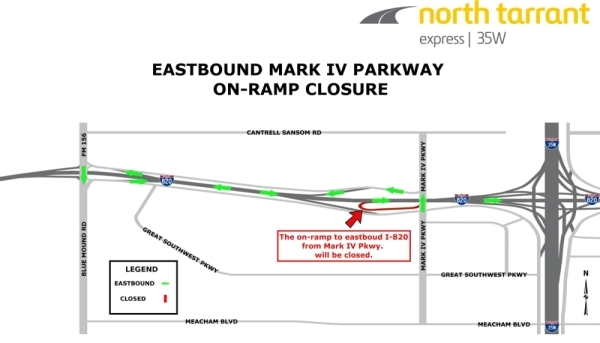 The I-820 eastbound on ramp near Mark IV Parkway will fully close Jan. 24. (Courtesy city of Fort Worth)