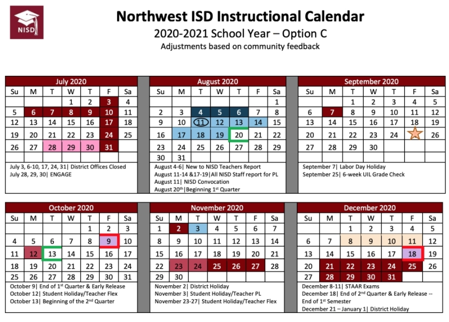 Calendar Option C has a start date of Aug. 20 for the 2020-21 school year. (Courtesy Northwest ISD)