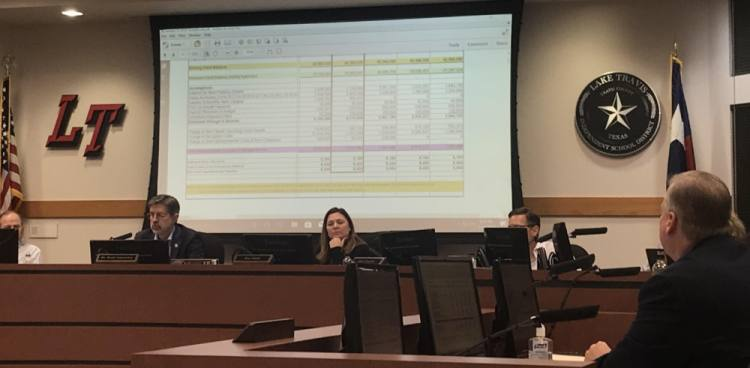 Johnny Hill—Lake Travis ISD's assistant superintendent for business, financial and auxiliary services—presented the district's budget projections during a Jan. 15 school board meeting. (Amy Rae Dadamo/Community Impact Newspaper)