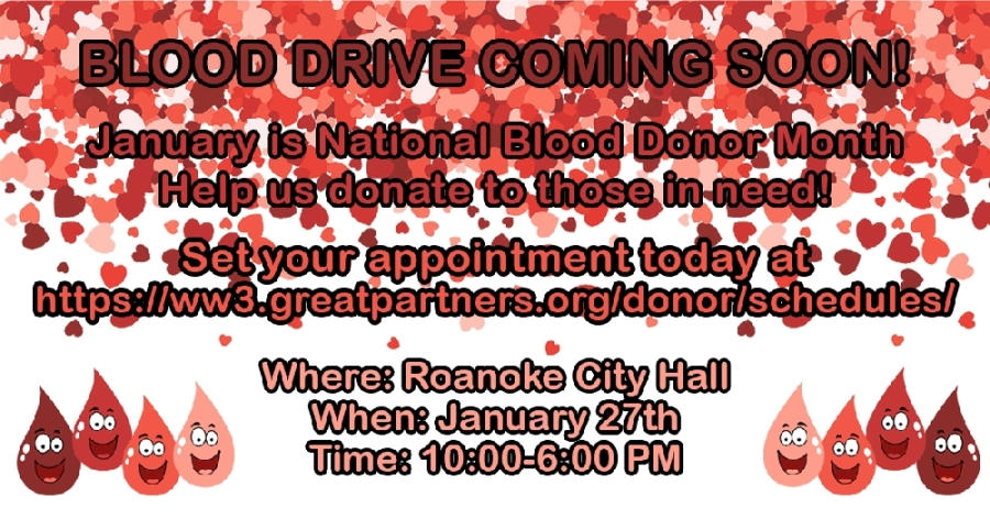 In partnership with Carter BloodCare, the city is encouraging residents to give back from 10 a.m.-6 p.m. (Courtesy city of Roanoke)