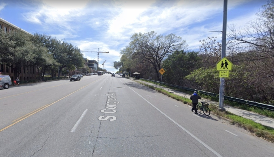 """Austin Transportation installed """"No parking"""" signs in 2019 on South Congress Avenue to discourage illegal parking in bicycle lanes. (Courtesy Google Maps)"""