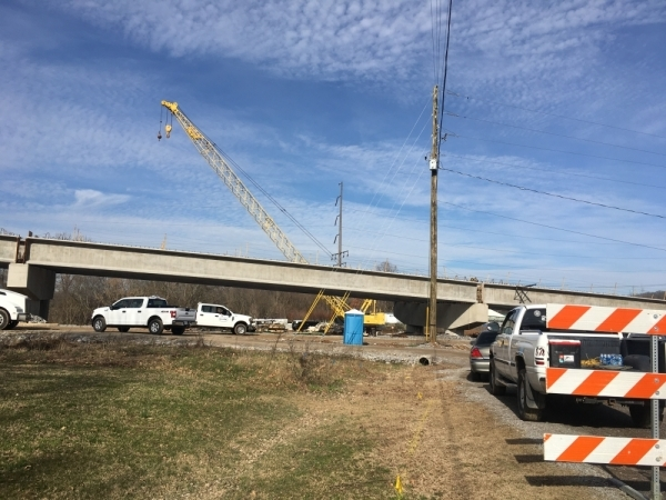 Work is progressing on the Mack C. Hatcher northwest extension in Franklin. (Wendy Sturges/Community Impact Newspaper)