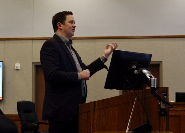 Real Estate Project Manager Brad Peck of Love's Travel Stops presents his case for a Love's truck stop. (Warren Brown/Community Impact)