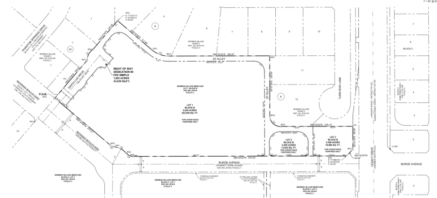 The development will be over 7.5 acres. (Conveyance plat courtesy city of Frisco)