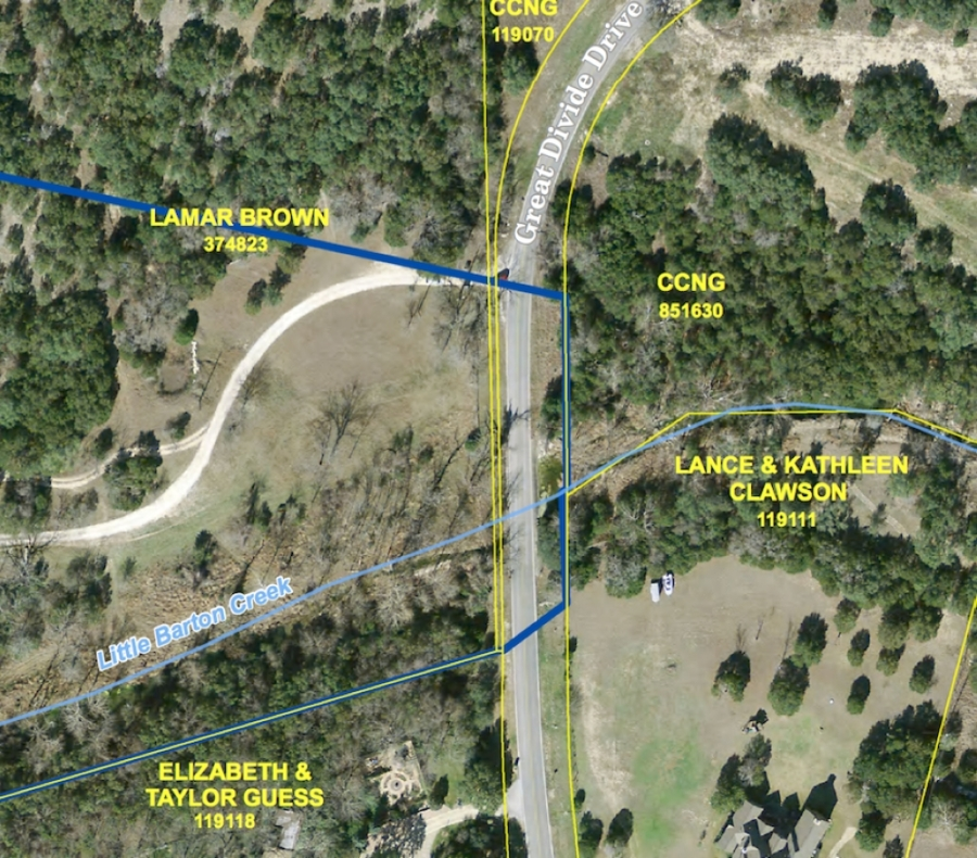 This map shows the low-water crossing over Little Barton Creek that leads to 204 homes in The Homestead. (Courtesy Google Maps)
