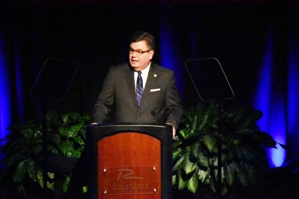 Mayor Paul Voelker delivers the annual State of the City address Jan. 29. (Makenzie Plusnick/Community Impact Newspaper)