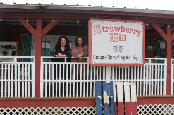 Sandra Kelly (left) and daughter Melissa Loe have owned Strawberry Hill Upcycling Boutique since 2014. (Jake Magee/Community Impact Newspaper)