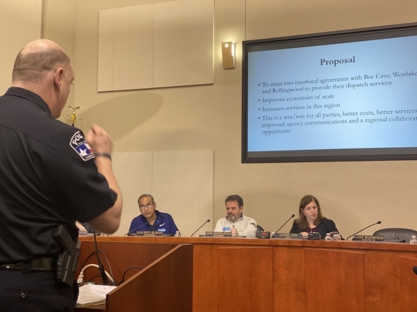 Lakeway Police Department Chief Todd Radford addresses City Council during a Feb. 3 special meeting. (Brian Rash/Community Impact Newspaper)