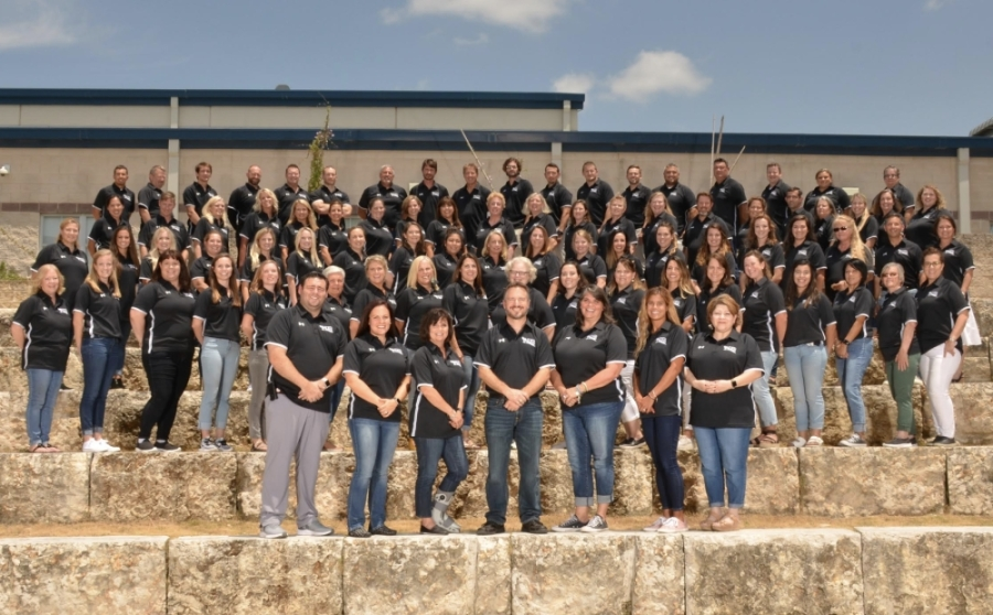 The staff at Hudson Bend Middle School celebrates the recertification as a Texas School to Watch. (Courtesy Marco Alvarado)