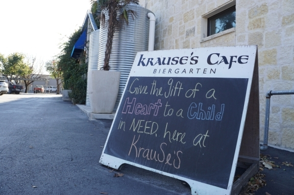 Krause's Cafe is hosting a fundraiser in partnership with HeartGift until Feb. 14. (Lauren Canterberry/Community Impact Newspaper)