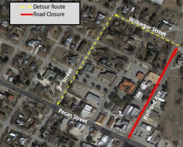 Railroad Avenue in Pflugerville will be temporarily closed Friday, Feb. 7 and Monday, Feb. 10 to complete pavement work. (Courtesy city of Pflugerville)
