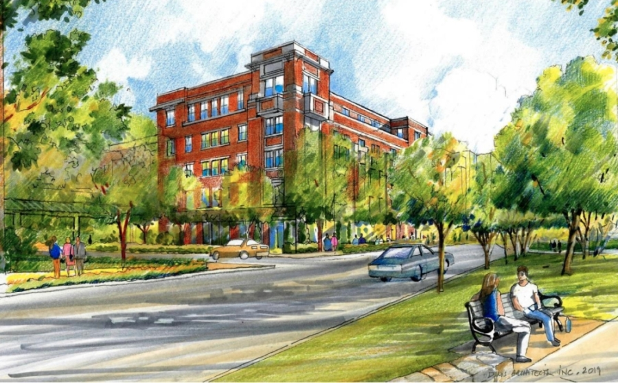The Southlake Planning and Zoning Commission denied a request to rezone a portion of Southlake Town Square for the development of apartments Feb. 6. (Illustration courtesy city of Southlake)