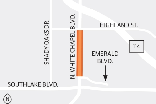 Phase 1 of the North White Chapel widening project will conclude with the newly finished dual-lane roundabout at the intersection of North White Chapel Boulevard and Highland Avenue. (Graphic by Ellen Jackson/Community Impact Newspaper)
