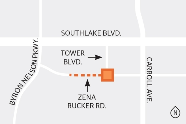 Pavement has been laid west of the intersection at Tower Boulevard and Zena Rucker Road in Southlake. (Graphic by Ellen Jackson/Community Impact Newspaper)