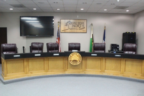 Oak Ridge North City Council met for a special-called joint hearing and regular council meeting Feb. 10. (Ben Thompson/Community Impact Newspaper)