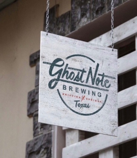 """A photo of a sign reading """"Ghost Note Brewing."""""""