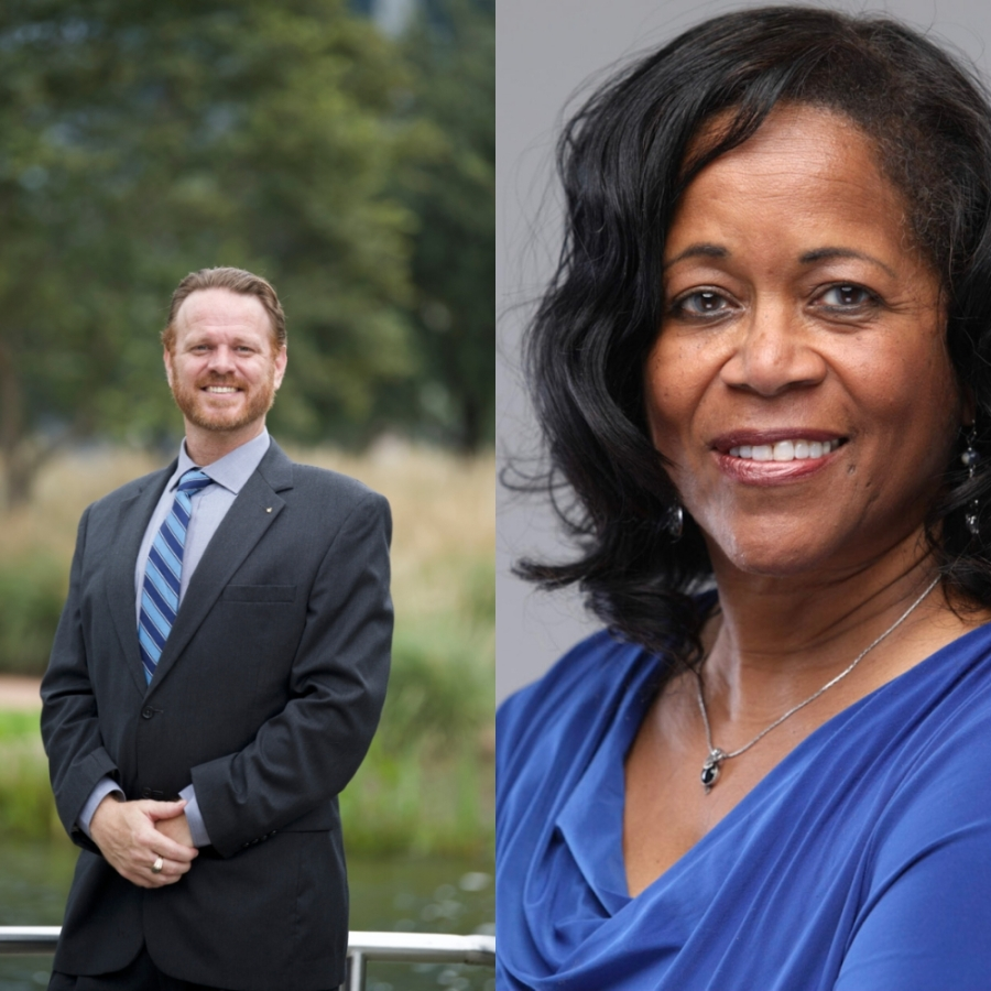 Mikal Williams (left) and Adrienne Bell are two of the seven Democratic candidates vying for the 14th Congressional District seat in 2020.