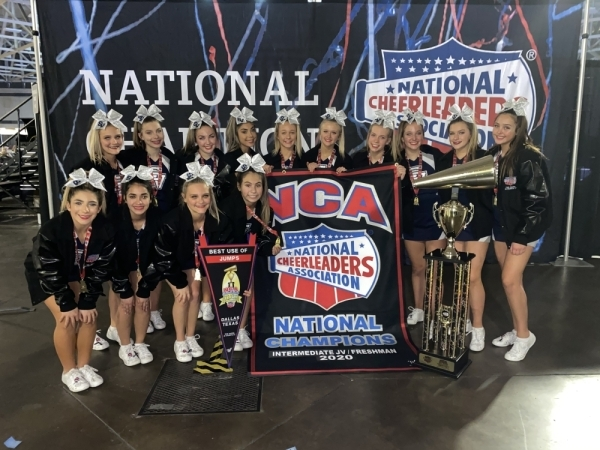 The Smithson Valley High School freshman cheer team won first place at the NCA Senior & Junior High School National Championship on Feb. 1-2 in Dallas. (Courtesy Comal ISD)