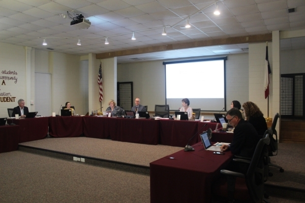 A photo of the Dripping Springs ISD board of trustees