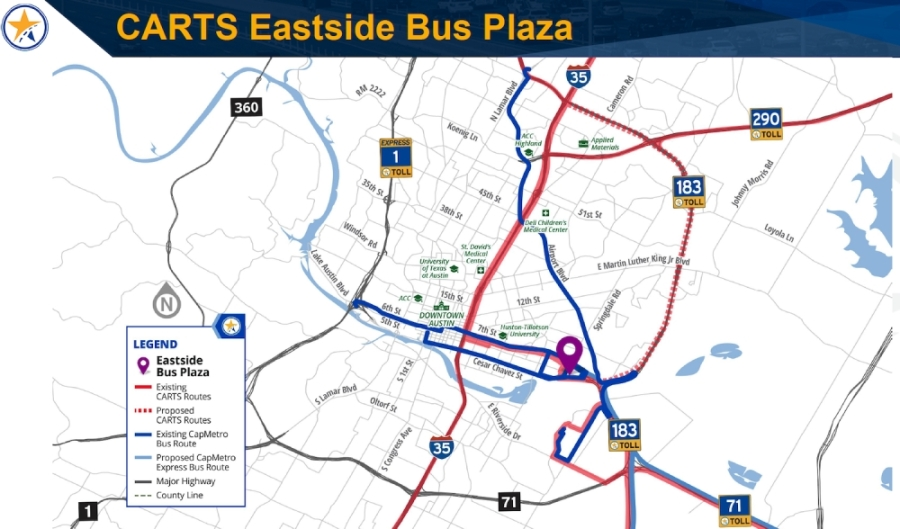 CTRMA updated the status of the $7.54 million Eastside Bus Plaza during a Feb. 26 meeting. (Image courtesy Central Texas Regional Mobility Authority)