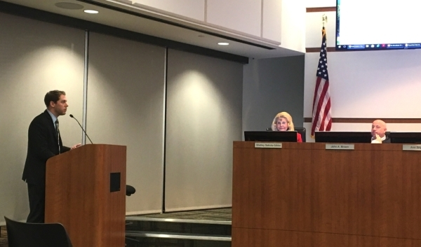 Josh Rauch, a senior consultant with The Novak Consulting Group, presented maximum tax rate information to The Woodlands Township board of directors Feb. 26. (Vanessa Holt/Community Impact Newspaper)