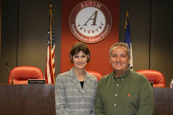 Jackie Caffey (left) and Lenny Garcia were both recognized with a facility named in their honor. (Courtesy Alvin ISD)