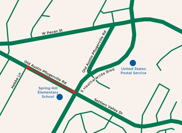 Beginning March 4, city staff said there will be daily traffic control on Old Austin-Pflugerville Road from 9 a.m.-4 p.m., between South Heatherwilde Boulevard and Hebbe Lane due to construction related to Pecan District Phase 1. (Rendering courtesy city of Pflugerville)