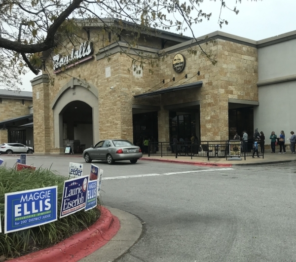 Voters line up March 3 in South Austin to participate in the 2020 primary election. (Nicholas Cicale/Community Impact Newspaper)