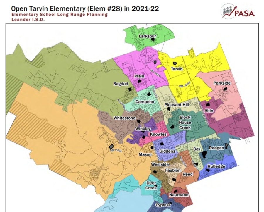 This map from the PASA demographer's report shows one suggestion for elementary school rezoning for the 2021-22 school year. (Courtesy Leander ISD)