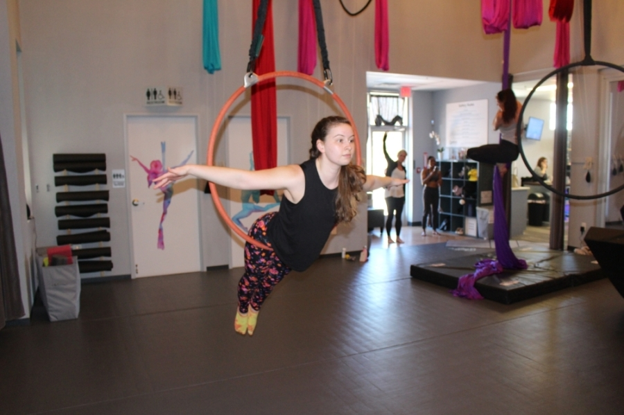 The Lyra hoop is a steel apparatus that resembles a hula hoop. (William C. Wadsack/Community Impact Newspaper)