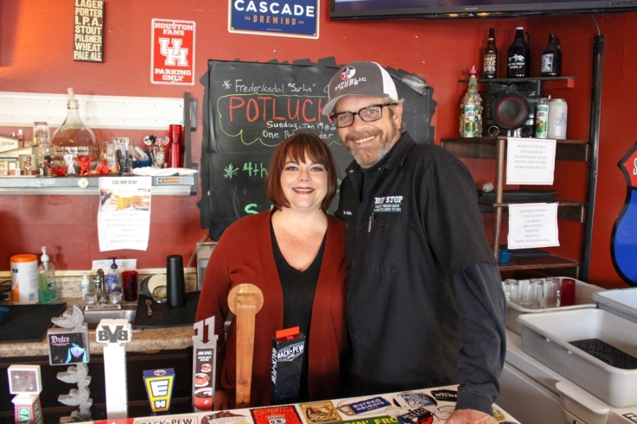 Dawn and Rick Tyler opened The Hop Stop in Humble in January 2016. (Kelly Schafler/Community Impact Newspaper)