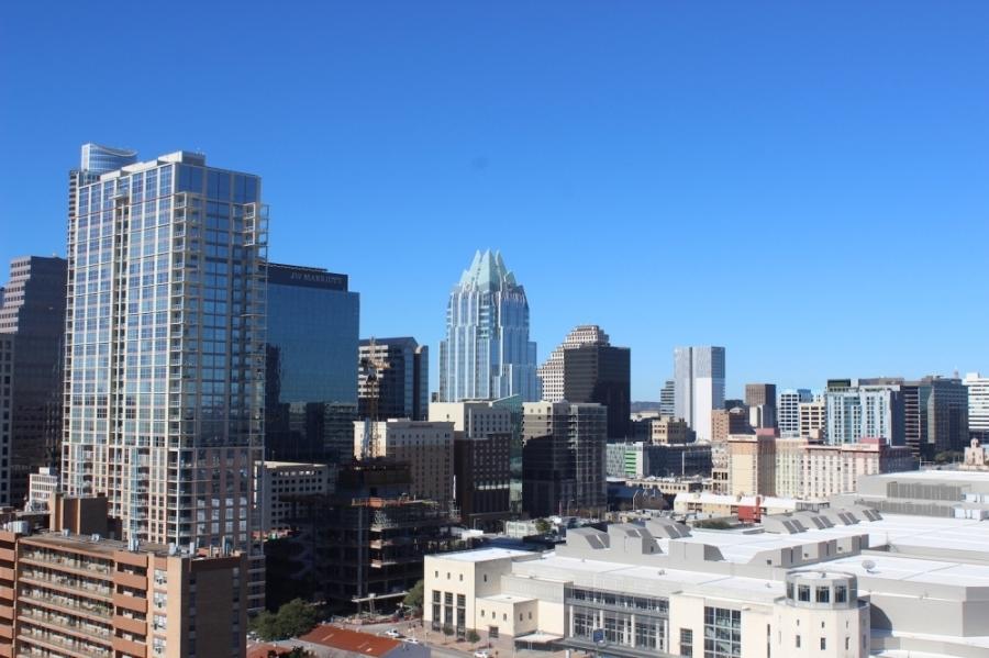 A photo of the Austin skyline.
